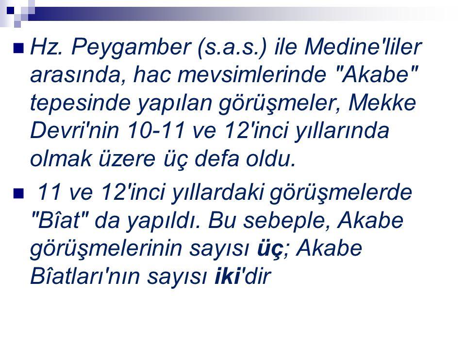 Hz. Peygamber (s.a.s.) ile Medine'liler arasında, hac mevsimlerinde