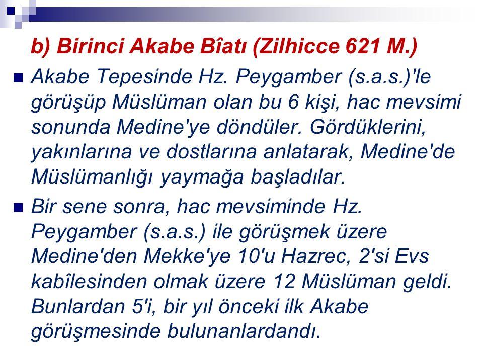 b) Birinci Akabe Bîatı (Zilhicce 621 M.) Akabe Tepesinde Hz. Peygamber (s.a.s.)'le görüşüp Müslüman olan bu 6 kişi, hac mevsimi sonunda Medine'ye dönd
