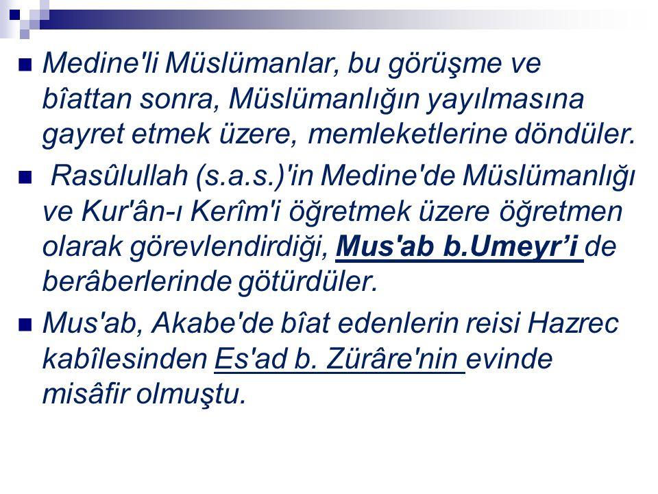Medine'li Müslümanlar, bu görüşme ve bîattan sonra, Müslümanlığın yayılmasına gayret etmek üzere, memleketlerine döndüler. Rasûlullah (s.a.s.)'in Medi