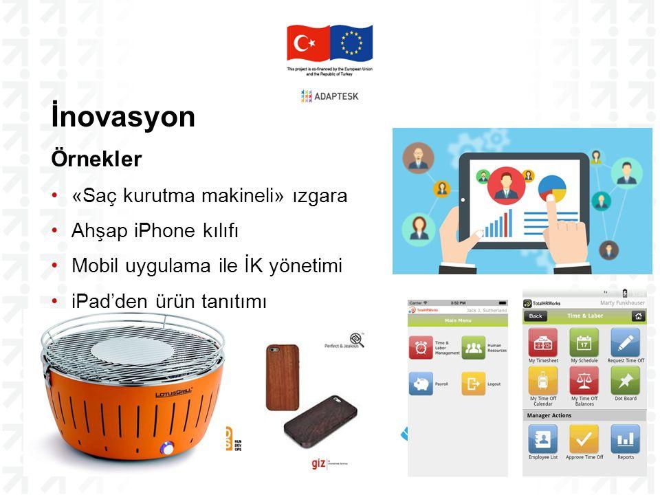 İnovasyon Örnekler «Saç kurutma makineli» ızgara Ahşap iPhone kılıfı Mobil uygulama ile İK yönetimi iPad'den ürün tanıtımı