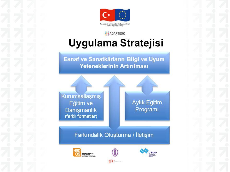 Uygulama Stratejisi Kurumsallaşmış Eğitim ve Danışmanlık (farklı formatlar) Esnaf ve Sanatkârların Bilgi ve Uyum Yeteneklerinin Artırılması Aylık Eğitim Programı Farkındalık Oluşturma / İletişim