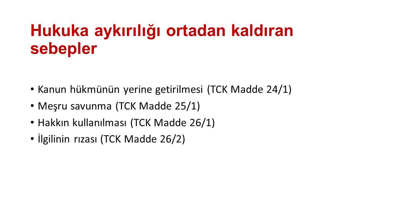 Hukuka aykırılığı ortadan kaldıran sebepler Kanun hükmünün yerine getirilmesi (TCK Madde 24/1) Meşru savunma (TCK Madde 25/1) Hakkın kullanılması (TCK Madde 26/1) İlgilinin rızası (TCK Madde 26/2)