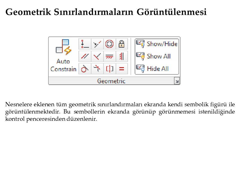 Geometrik Sınırlandırmaların Görüntülenmesi Nesnelere eklenen tüm geometrik sınırlandırmaları ekranda kendi sembolik figürü ile görüntülenmektedir. Bu