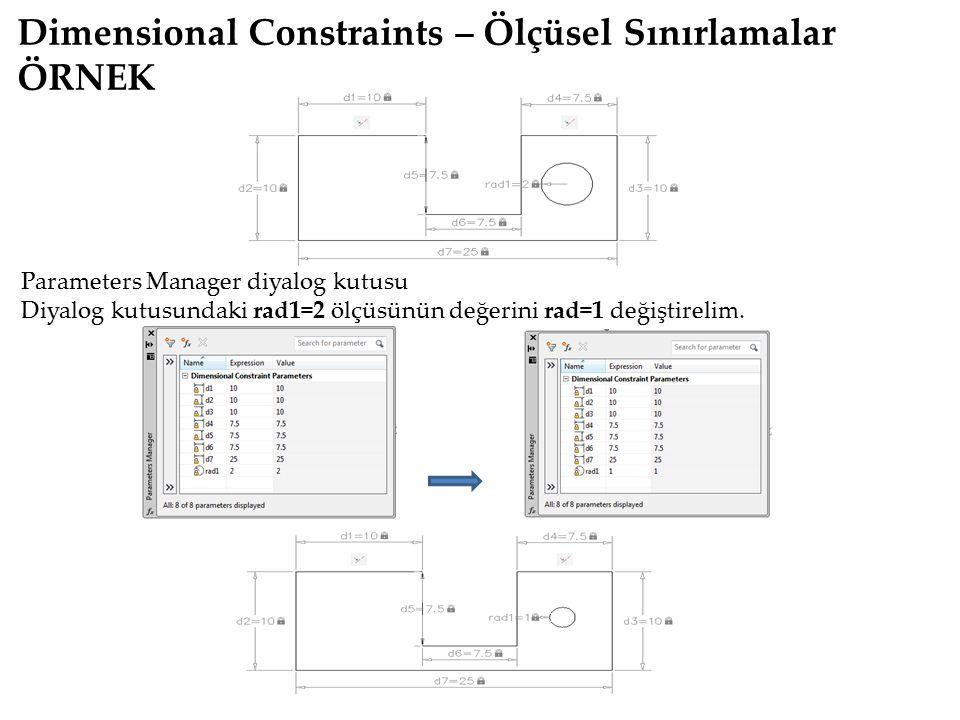 Dimensional Constraints – Ölçüsel Sınırlamalar ÖRNEK Parameters Manager diyalog kutusu Diyalog kutusundaki rad1=2 ölçüsünün değerini rad=1 değiştireli