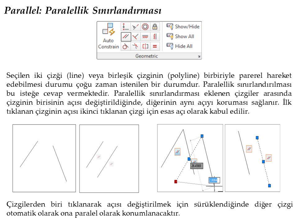 Parallel: Paralellik Sınırlandırması Seçilen iki çizği (line) veya birleşik çizginin (polyline) birbiriyle parerel hareket edebilmesi durumu çoğu zama