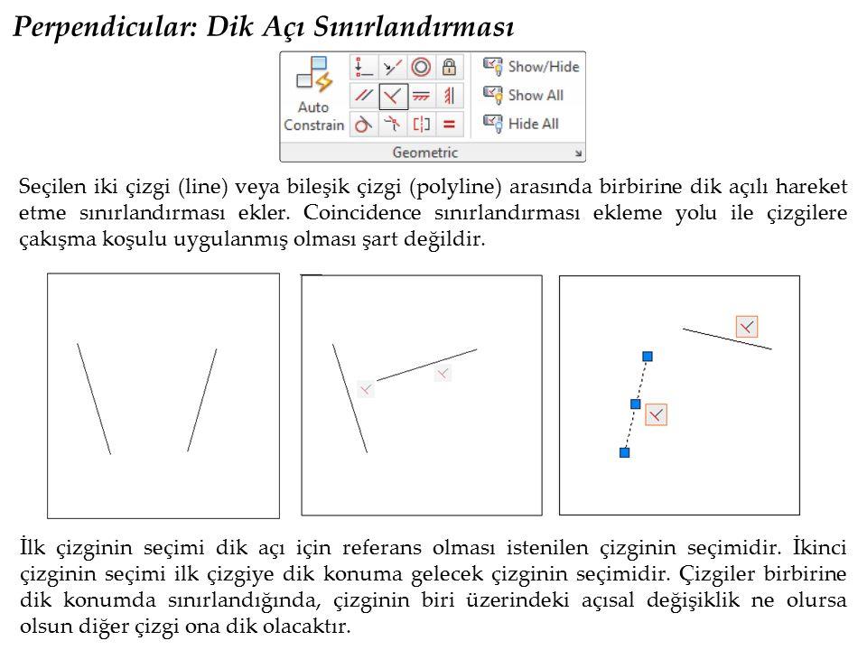Perpendicular: Dik Açı Sınırlandırması Seçilen iki çizgi (line) veya bileşik çizgi (polyline) arasında birbirine dik açılı hareket etme sınırlandırmas