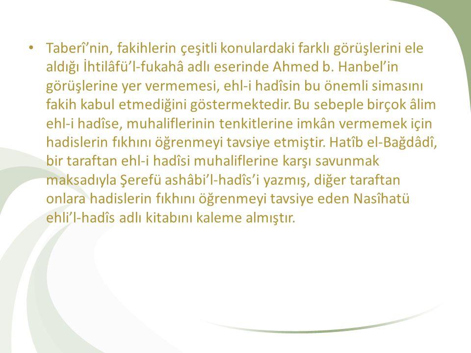 Taberî'nin, fakihlerin çeşitli konulardaki farklı görüşlerini ele aldığı İhtilâfü'l-fukahâ adlı eserinde Ahmed b.