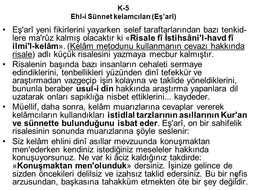 3 K-5 Ehl-i Sünnet kelamcıları (Eş'arî) Eş arî yeni fikirlerini yayarken selef taraftarlarından bazı tenkid- lere ma rûz kalmış olacaktır ki «Risale fî İstihsâni l-havd fî ilmi l-kelâm».