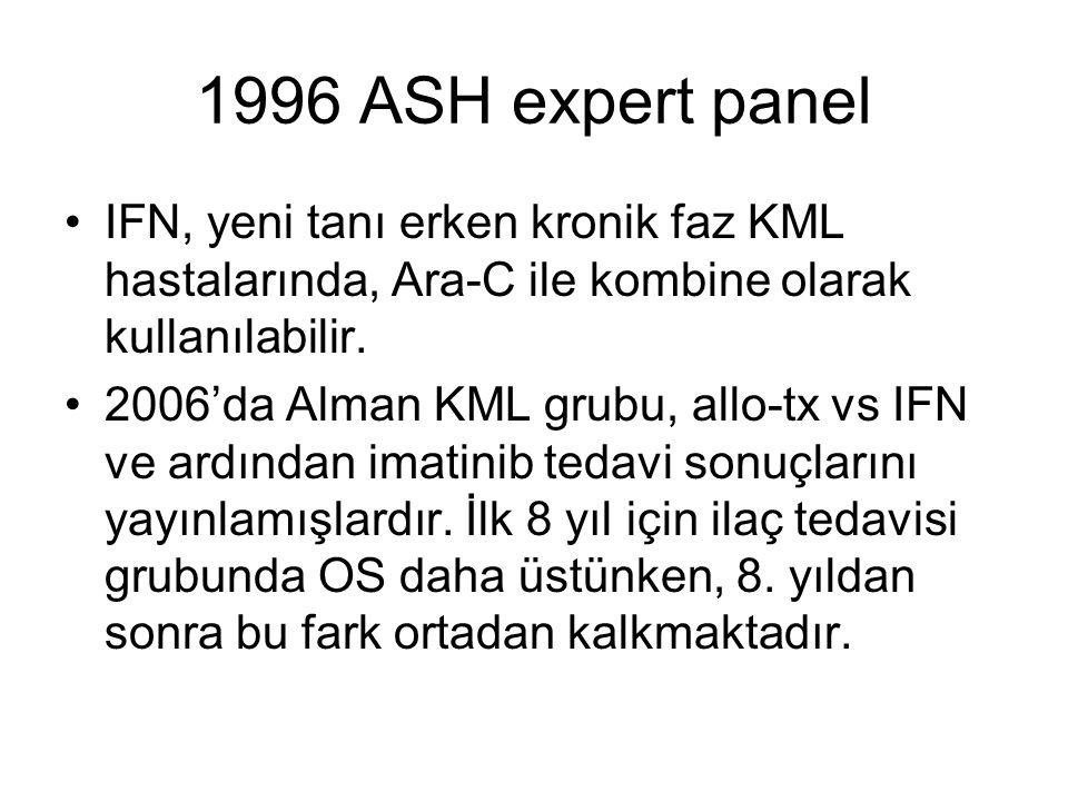 1996 ASH expert panel IFN, yeni tanı erken kronik faz KML hastalarında, Ara-C ile kombine olarak kullanılabilir.