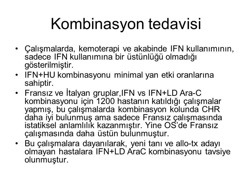 Kombinasyon tedavisi Çalışmalarda, kemoterapi ve akabinde IFN kullanımının, sadece IFN kullanımına bir üstünlüğü olmadığı gösterilmiştir.