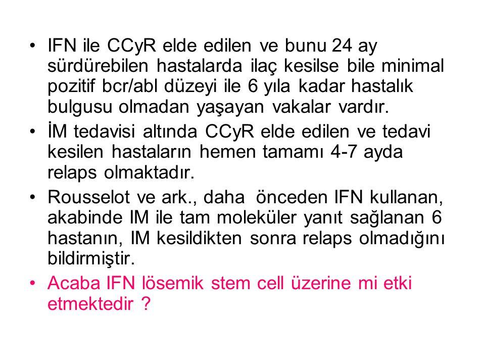 IFN ile CCyR elde edilen ve bunu 24 ay sürdürebilen hastalarda ilaç kesilse bile minimal pozitif bcr/abl düzeyi ile 6 yıla kadar hastalık bulgusu olmadan yaşayan vakalar vardır.