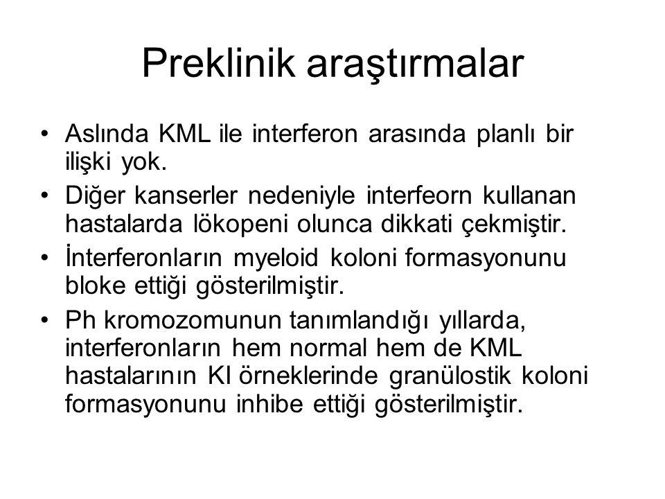 Preklinik araştırmalar Aslında KML ile interferon arasında planlı bir ilişki yok.