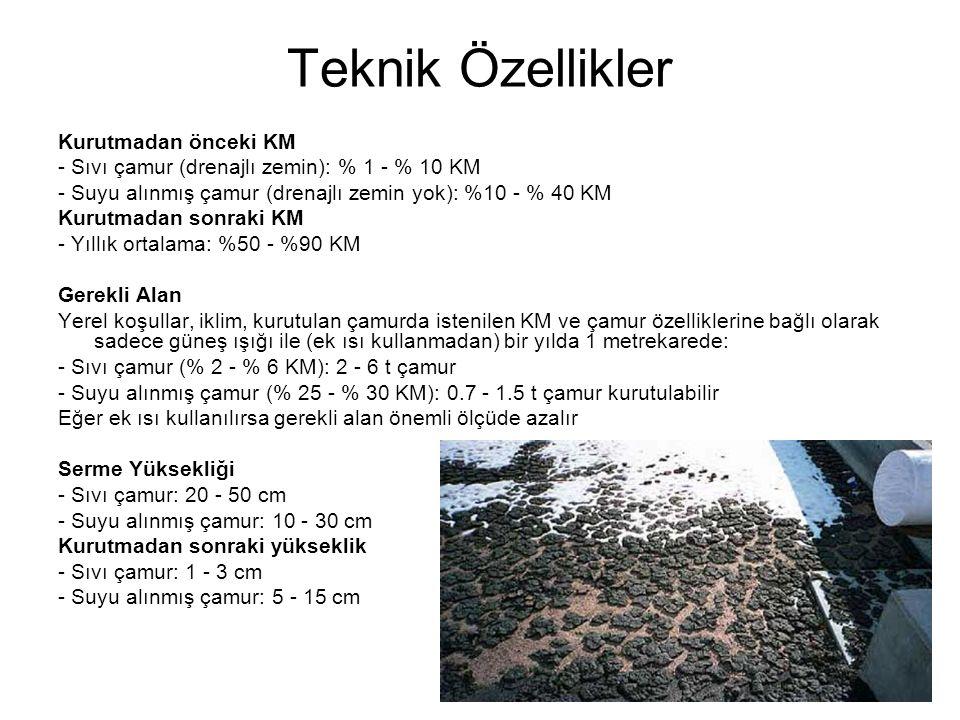 Teknik Özellikler Kurutmadan önceki KM - Sıvı çamur (drenajlı zemin): % 1 - % 10 KM - Suyu alınmış çamur (drenajlı zemin yok): %10 - % 40 KM Kurutmada