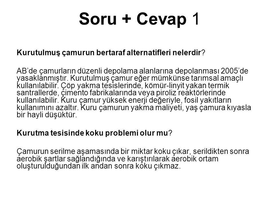 Soru + Cevap 1 Kurutulmuş çamurun bertaraf alternatifleri nelerdir? AB'de çamurların düzenli depolama alanlarına depolanması 2005'de yasaklanmıştır. K