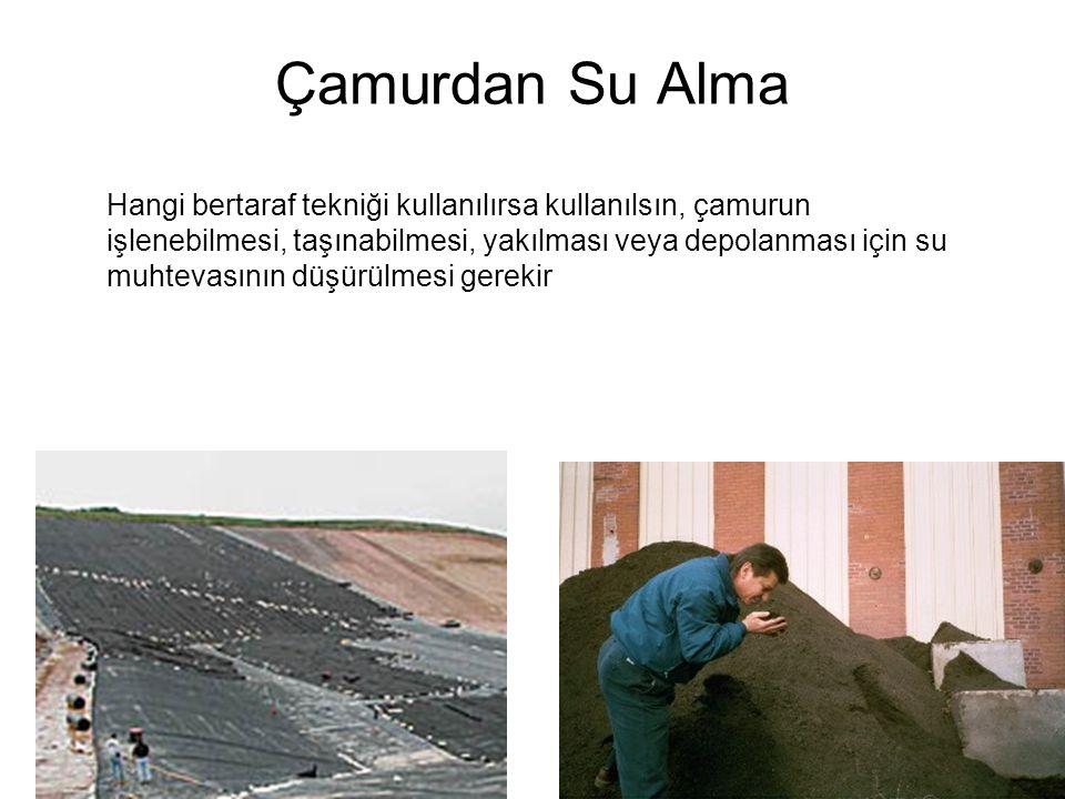 Çamurdan Su Alma Hangi bertaraf tekniği kullanılırsa kullanılsın, çamurun işlenebilmesi, taşınabilmesi, yakılması veya depolanması için su muhtevasını