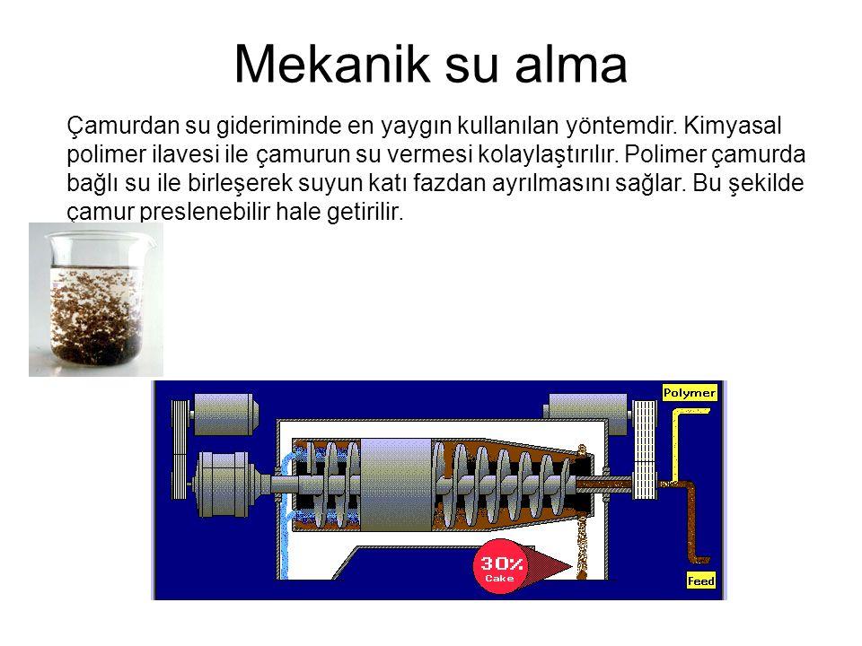 Mekanik su alma Çamurdan su gideriminde en yaygın kullanılan yöntemdir. Kimyasal polimer ilavesi ile çamurun su vermesi kolaylaştırılır. Polimer çamur