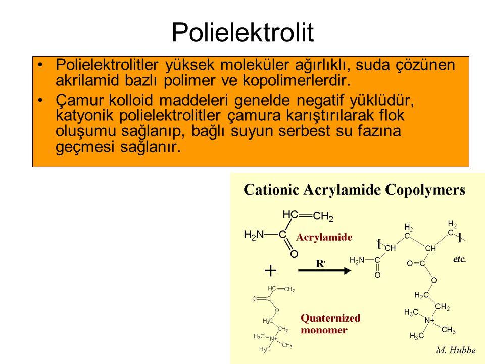 Polielektrolit Polielektrolitler yüksek moleküler ağırlıklı, suda çözünen akrilamid bazlı polimer ve kopolimerlerdir. Çamur kolloid maddeleri genelde