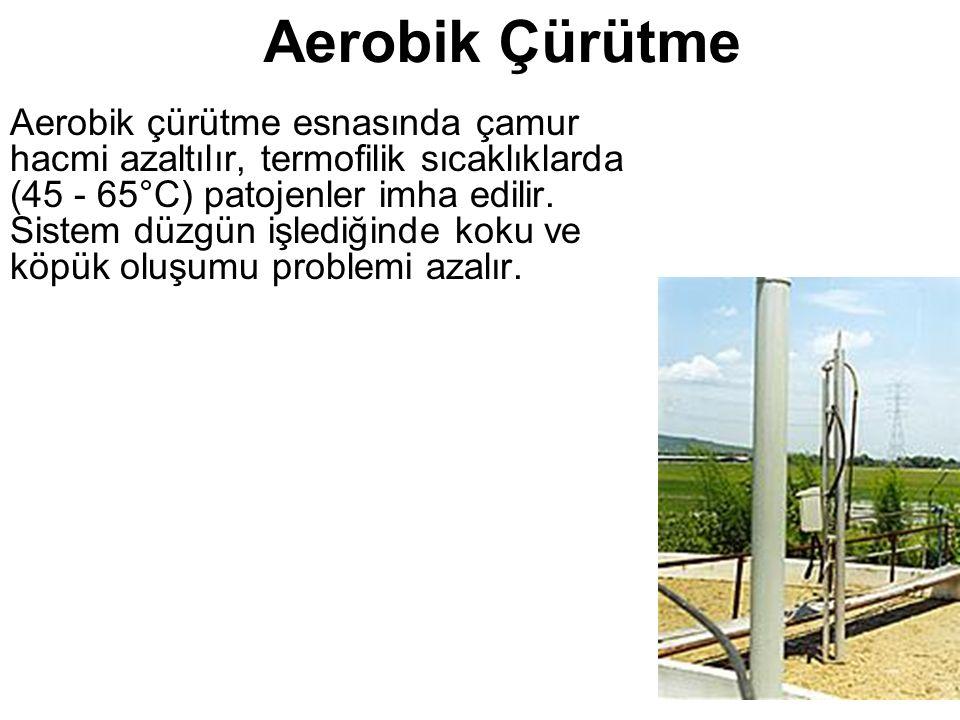 Aerobik Çürütme Aerobik çürütme esnasında çamur hacmi azaltılır, termofilik sıcaklıklarda (45 - 65°C) patojenler imha edilir.