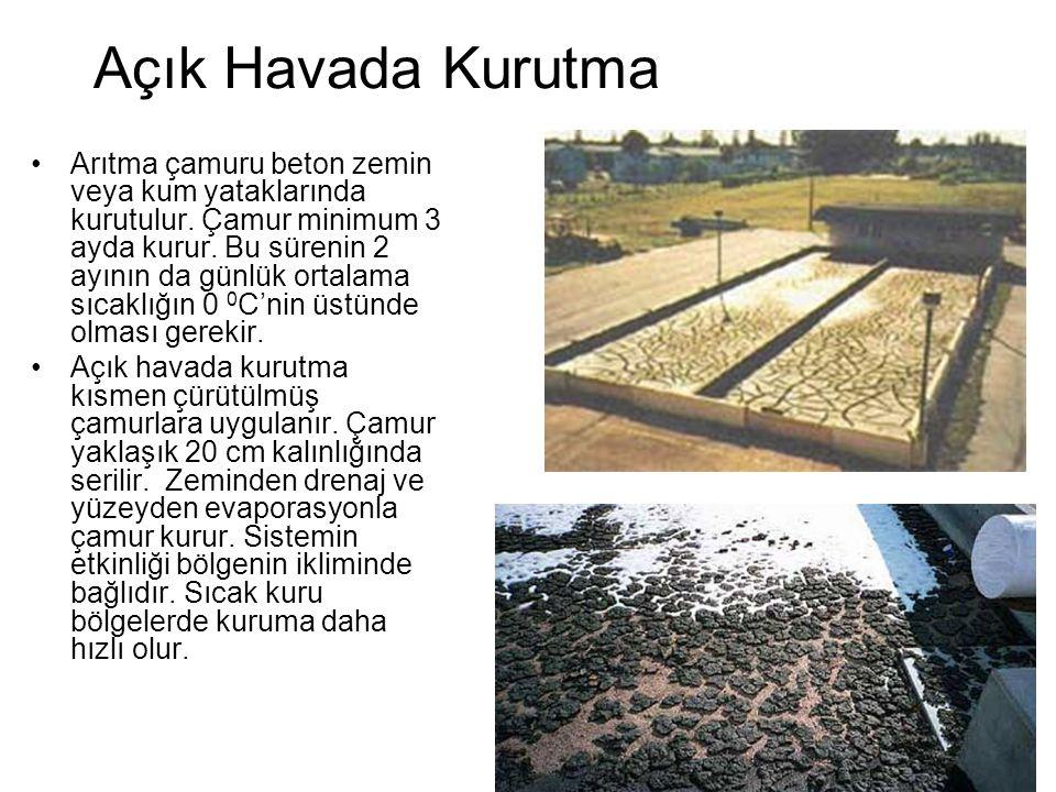 Açık Havada Kurutma Arıtma çamuru beton zemin veya kum yataklarında kurutulur.