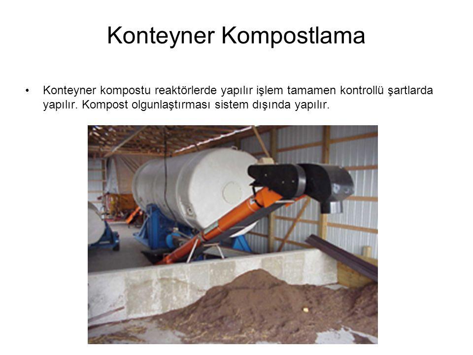 Konteyner Kompostlama Konteyner kompostu reaktörlerde yapılır işlem tamamen kontrollü şartlarda yapılır.