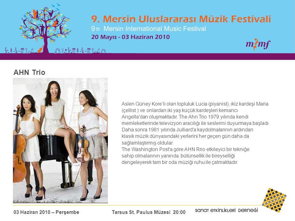 AHN Trio Aslen Güney Kore'li olan topluluk Lucia (piyanist), ikiz kardeşi Maria (çellist ) ve onlardan iki yaş küçük kardeşleri kemancı Angella dan oluşmaktadır.