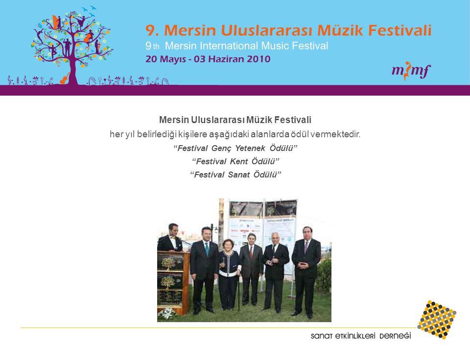 Mersin Uluslararası Müzik Festivali her yıl belirlediği kişilere aşağıdaki alanlarda ödül vermektedir.
