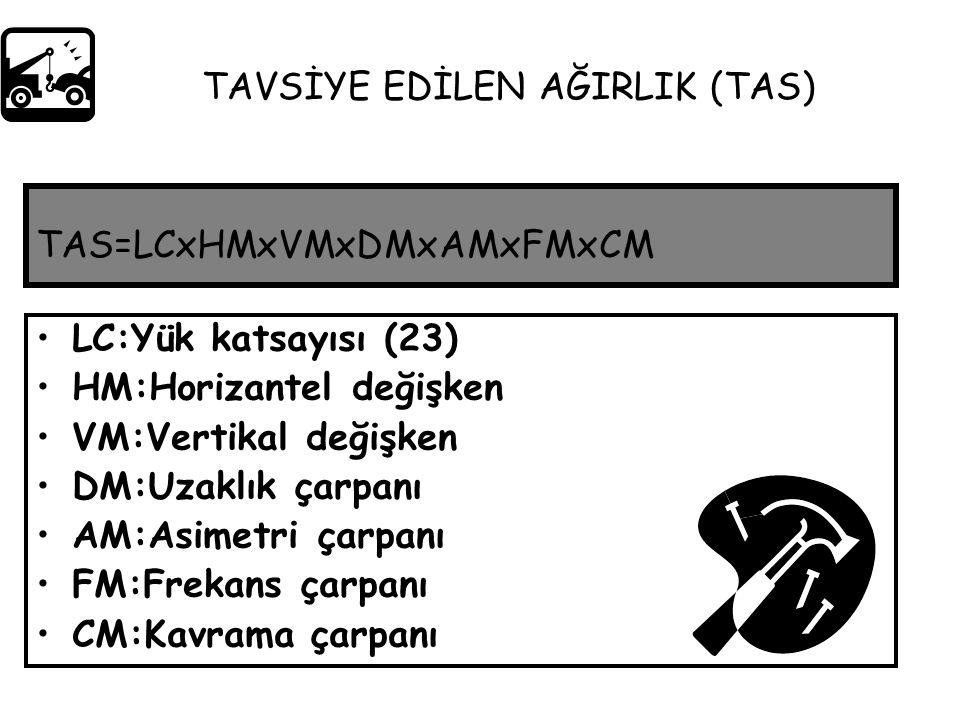 TAS=LCxHMxVMxDMxAMxFMxCM LC:Yük katsayısı (23) HM:Horizantel değişken VM:Vertikal değişken DM:Uzaklık çarpanı AM:Asimetri çarpanı FM:Frekans çarpanı C