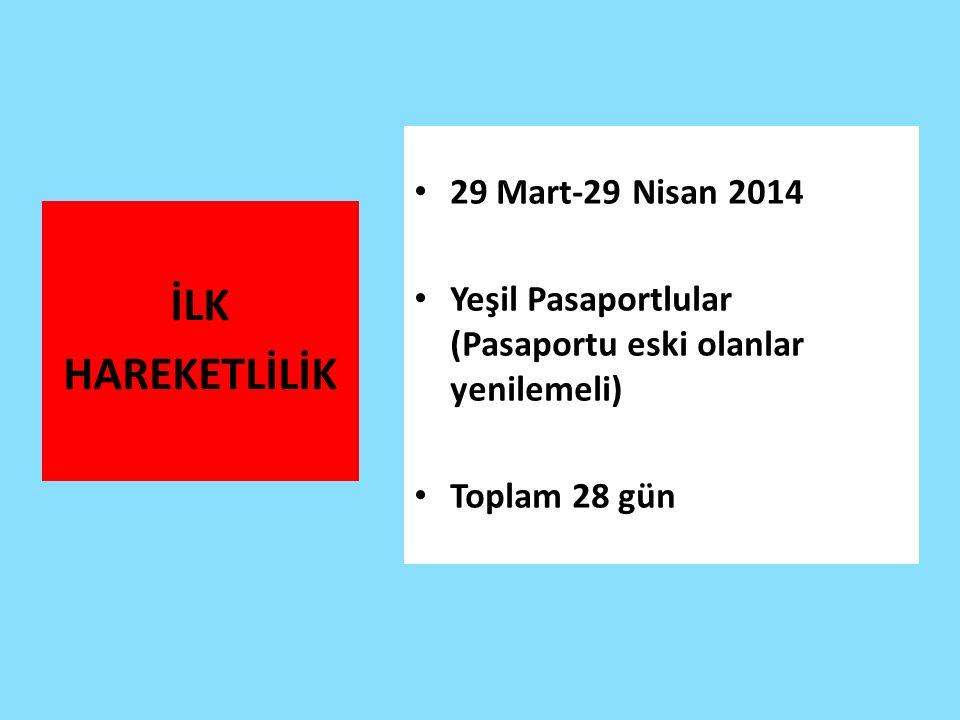 İLK HAREKETLİLİK 29 Mart-29 Nisan 2014 Yeşil Pasaportlular (Pasaportu eski olanlar yenilemeli) Toplam 28 gün
