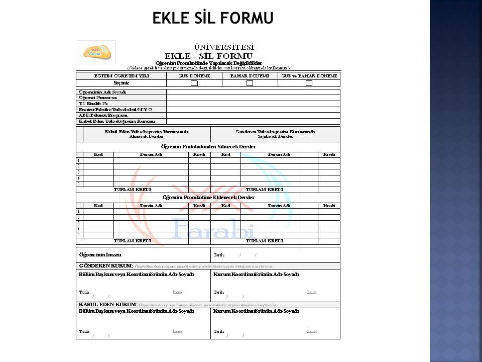 EKLE SİL FORMU