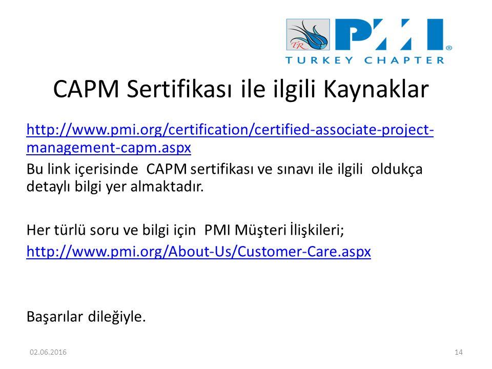CAPM Sertifikası ile ilgili Kaynaklar http://www.pmi.org/certification/certified-associate-project- management-capm.aspx Bu link içerisinde CAPM sertifikası ve sınavı ile ilgili oldukça detaylı bilgi yer almaktadır.