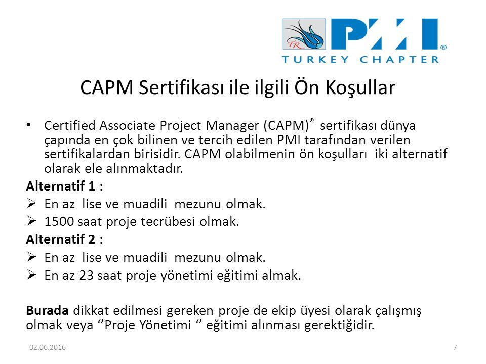 CAPM Sertifikası ile ilgili Ön Koşullar Certified Associate Project Manager (CAPM) ® sertifikası dünya çapında en çok bilinen ve tercih edilen PMI tarafından verilen sertifikalardan birisidir.