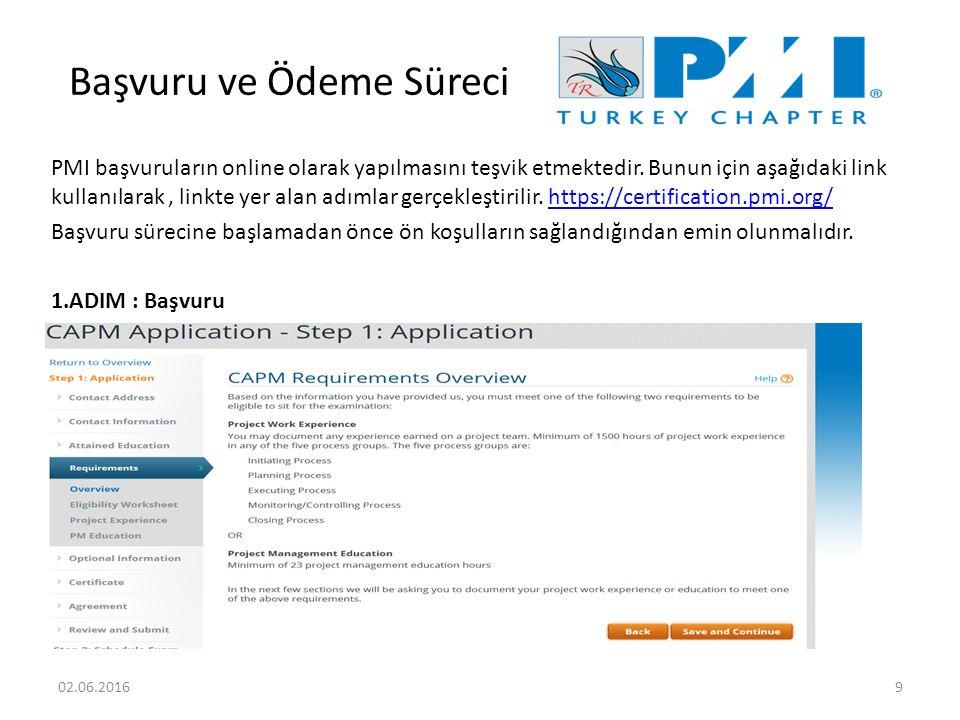 Başvuru ve Ödeme Süreci PMI başvuruların online olarak yapılmasını teşvik etmektedir.