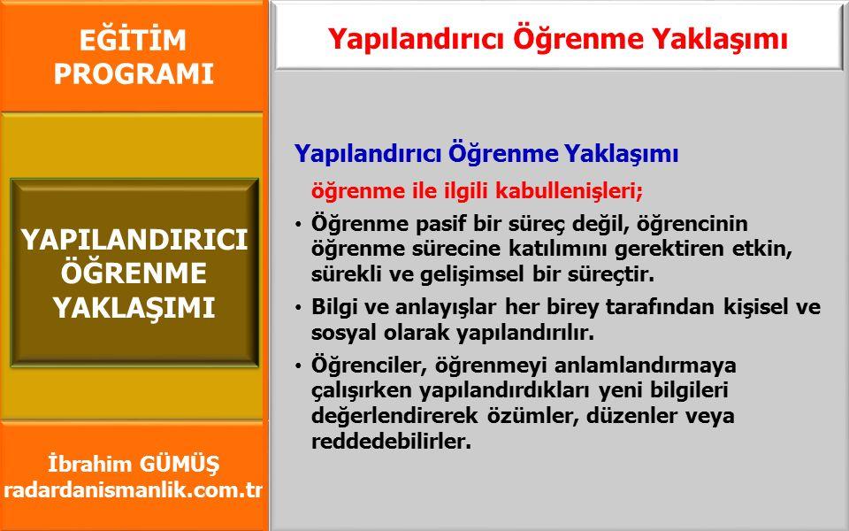 EĞİTİM PROGRAMI İbrahim GÜMÜŞ radardanismanlik.com.tr Yapılandırıcı Öğrenme Yaklaşımı öğrenme ile ilgili kabullenişleri; Öğrenme pasif bir süreç değil