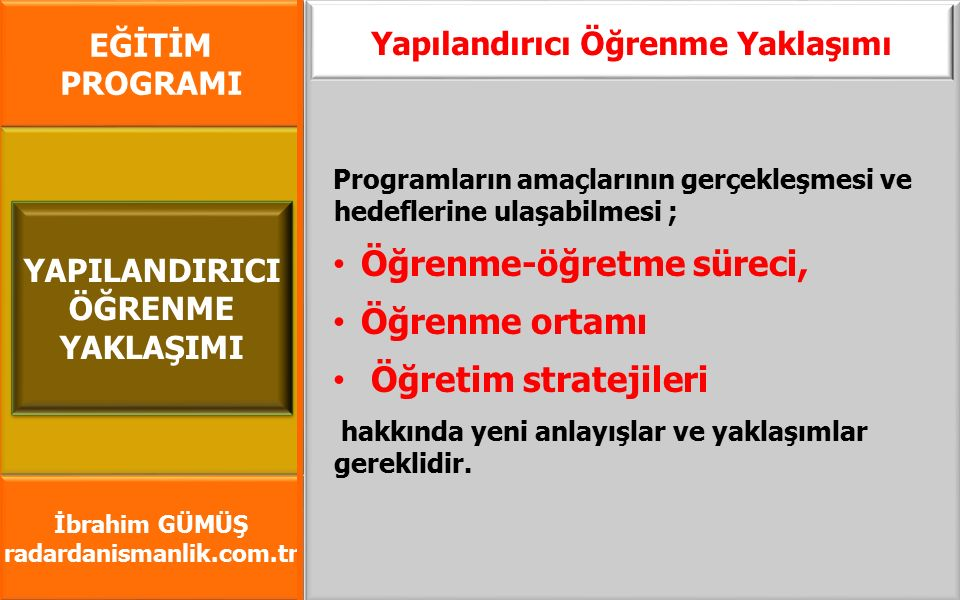 EĞİTİM PROGRAMI İbrahim GÜMÜŞ radardanismanlik.com.tr Yapılandırıcı Öğrenme Yaklaşımı Ders programlarının hazırlanmasında yapılandırıcı öğrenme yaklaşımına ağırlık vermiştir.