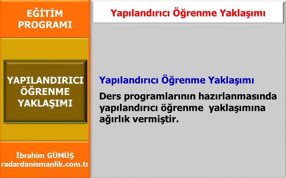 EĞİTİM PROGRAMI İbrahim GÜMÜŞ radardanismanlik.com.tr Yapılandırıcı Öğrenme Yaklaşımı Ders programlarının hazırlanmasında yapılandırıcı öğrenme yaklaş
