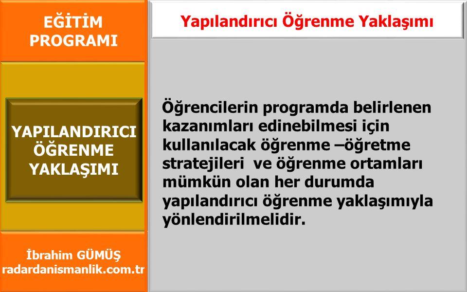 EĞİTİM PROGRAMI İbrahim GÜMÜŞ radardanismanlik.com.tr Öğrencilerin programda belirlenen kazanımları edinebilmesi için kullanılacak öğrenme –öğretme st