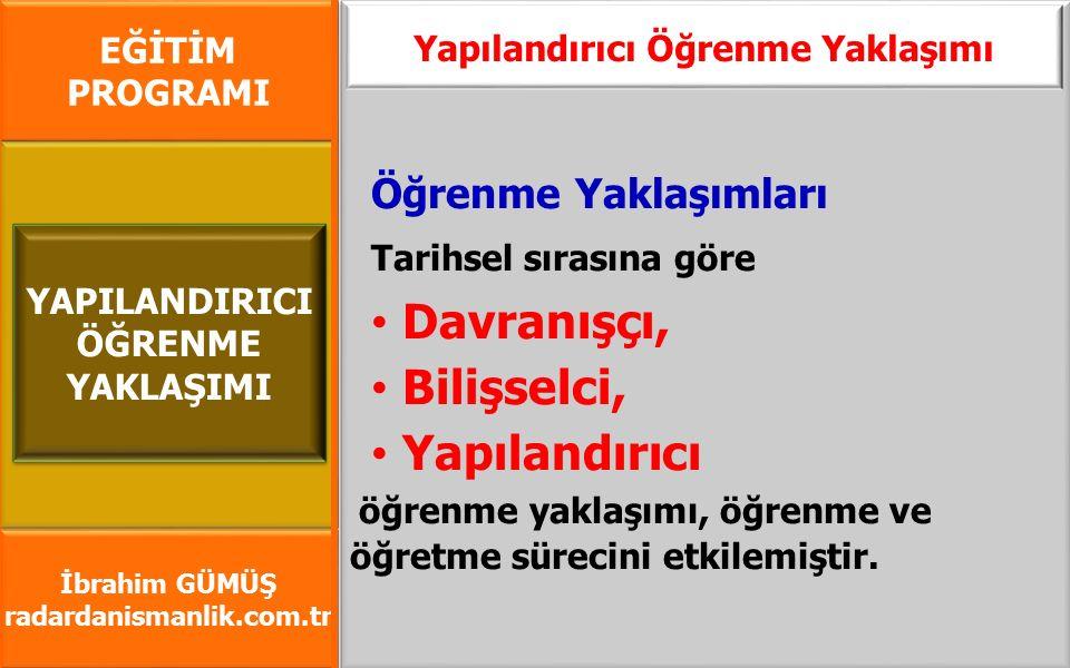 EĞİTİM PROGRAMI İbrahim GÜMÜŞ radardanismanlik.com.tr Öğrenme Yaklaşımları Tarihsel sırasına göre Davranışçı, Bilişselci, Yapılandırıcı öğrenme yaklaş
