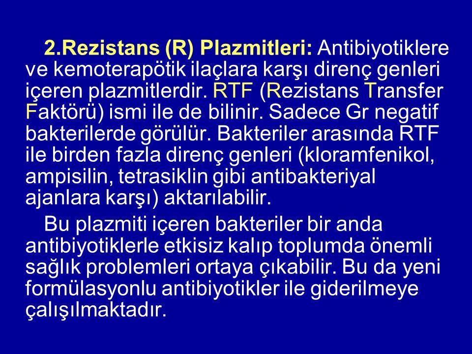 2.Rezistans (R) Plazmitleri: Antibiyotiklere ve kemoterapötik ilaçlara karşı direnç genleri içeren plazmitlerdir. RTF (Rezistans Transfer Faktörü) ism