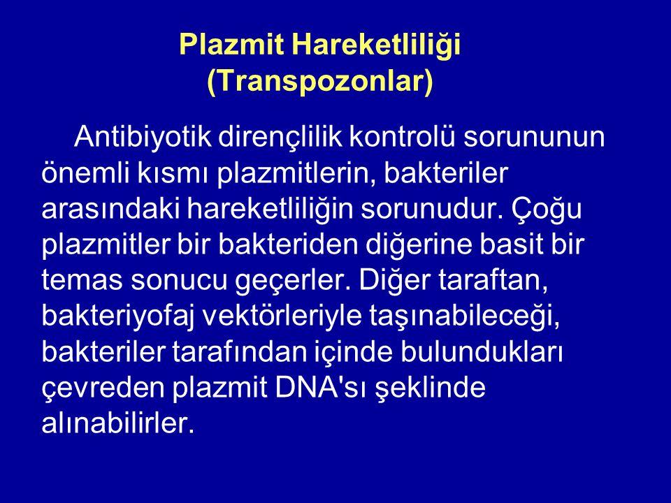 Plazmit Hareketliliği (Transpozonlar) Antibiyotik dirençlilik kontrolü sorununun önemli kısmı plazmitlerin, bakteriler arasındaki hareketliliğin sorun