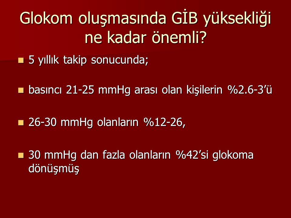 Glokom oluşmasında GİB yüksekliği ne kadar önemli? 5 yıllık takip sonucunda; 5 yıllık takip sonucunda; basıncı 21-25 mmHg arası olan kişilerin %2.6-3'