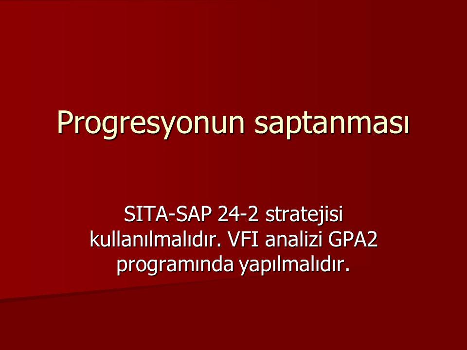 Progresyonun saptanması SITA-SAP 24-2 stratejisi kullanılmalıdır. VFI analizi GPA2 programında yapılmalıdır.