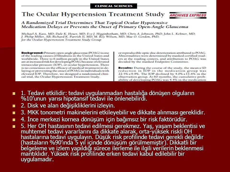 1. Tedavi etkilidir: tedavi uygulanmadan hastalığa dönüşen olguların %10'unun yarısı hipotansif tedavi ile önlenebilirdi. 1. Tedavi etkilidir: tedavi