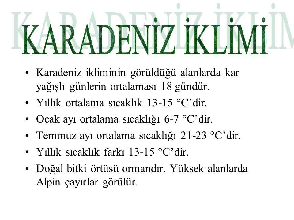 Karadeniz ikliminin görüldüğü alanlarda kar yağışlı günlerin ortalaması 18 gündür.