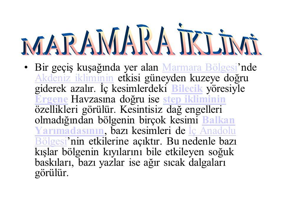 Bir geçiş kuşağında yer alan Marmara Bölgesi'nde Akdeniz ikliminin etkisi güneyden kuzeye doğru giderek azalır.