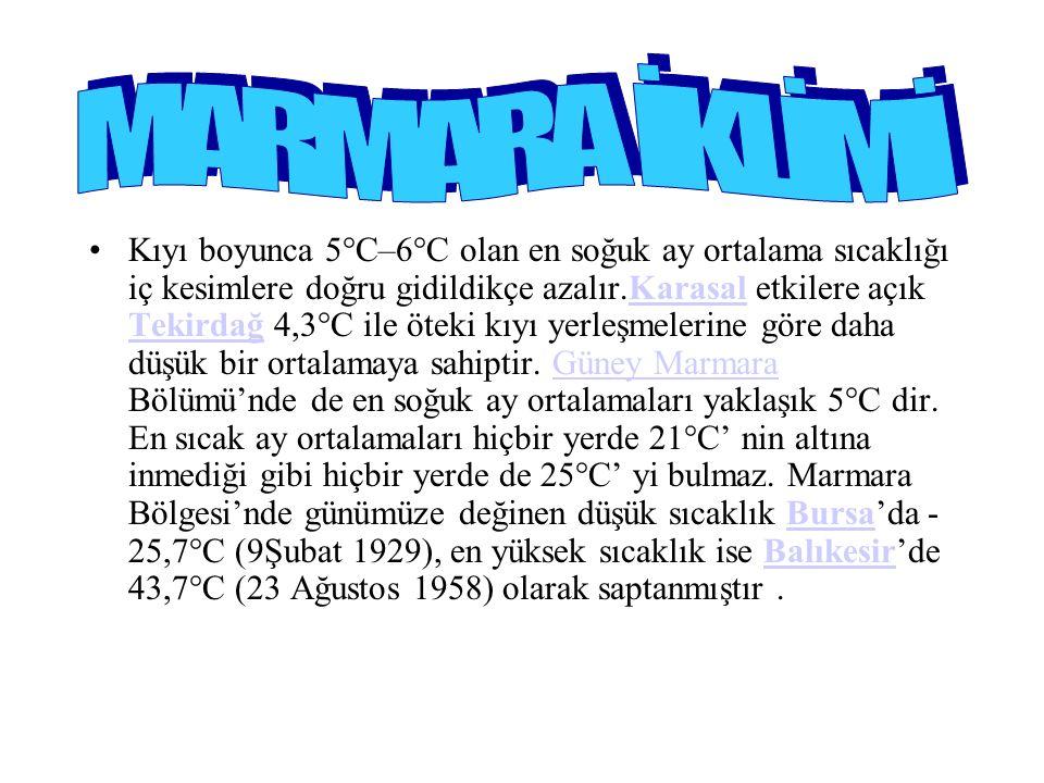 Kıyı boyunca 5°C–6°C olan en soğuk ay ortalama sıcaklığı iç kesimlere doğru gidildikçe azalır.Karasal etkilere açık Tekirdağ 4,3°C ile öteki kıyı yerleşmelerine göre daha düşük bir ortalamaya sahiptir.