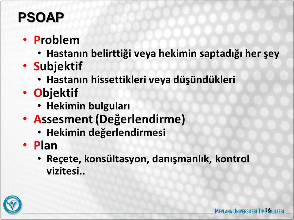 PSOAP Problem Hastanın belirttiği veya hekimin saptadığı her şey Subjektif Hastanın hissettikleri veya düşündükleri Objektif Hekimin bulguları Assesment (Değerlendirme) Hekimin değerlendirmesi Plan Reçete, konsültasyon, danışmanlık, kontrol vizitesi..