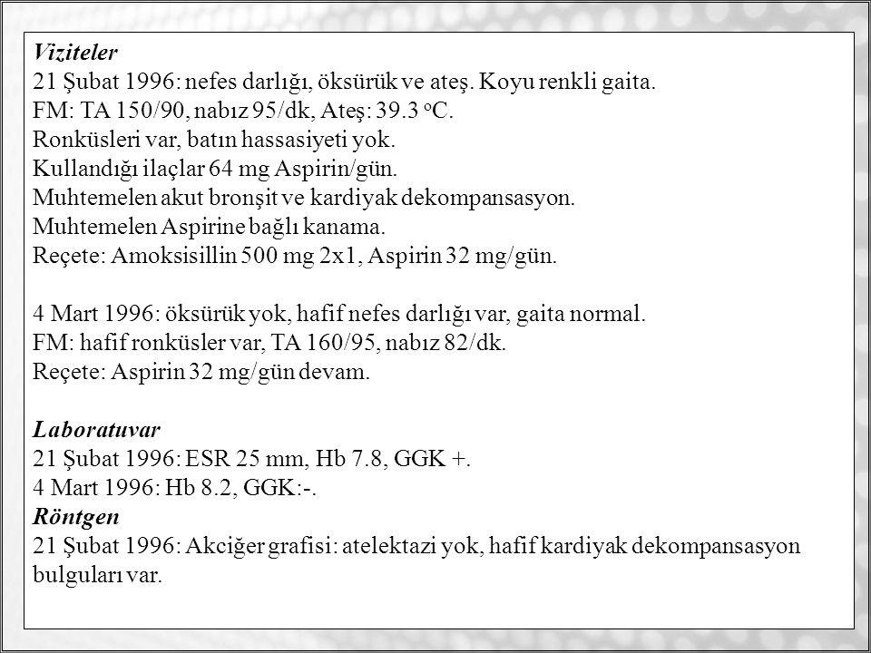 / 3517 Viziteler 21 Şubat 1996: nefes darlığı, öksürük ve ateş.