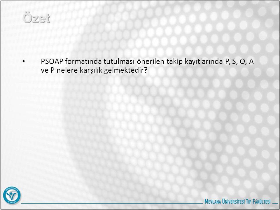 Özet PSOAP formatında tutulması önerilen takip kayıtlarında P, S, O, A ve P nelere karşılık gelmektedir.