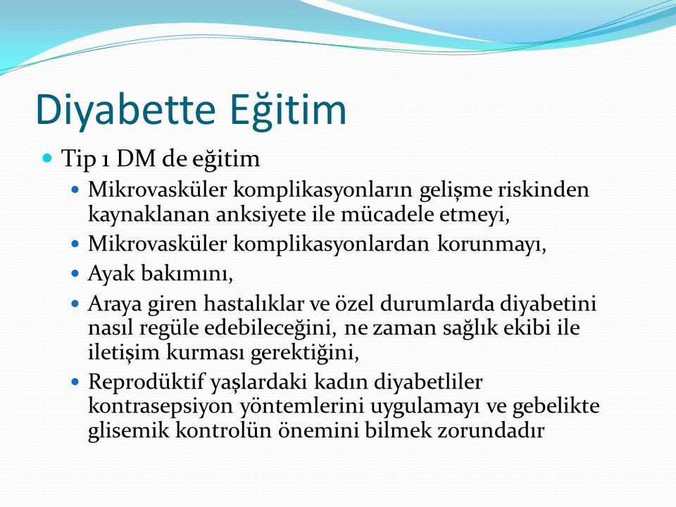 Diyabette Eğitim Tip 1 DM de eğitim Mikrovasküler komplikasyonların gelişme riskinden kaynaklanan anksiyete ile mücadele etmeyi, Mikrovasküler komplik