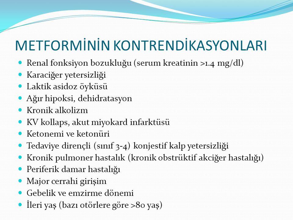 METFORMİNİN KONTRENDİKASYONLARI Renal fonksiyon bozukluğu (serum kreatinin >1.4 mg/dl) Karaciğer yetersizliği Laktik asidoz öyküsü Ağır hipoksi, dehid